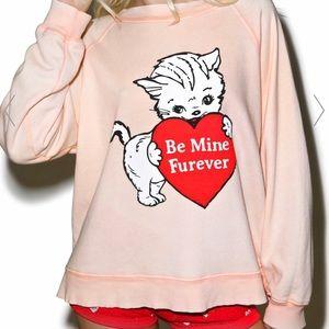 Be mine furever cat wildfox baggy jumper pink rare